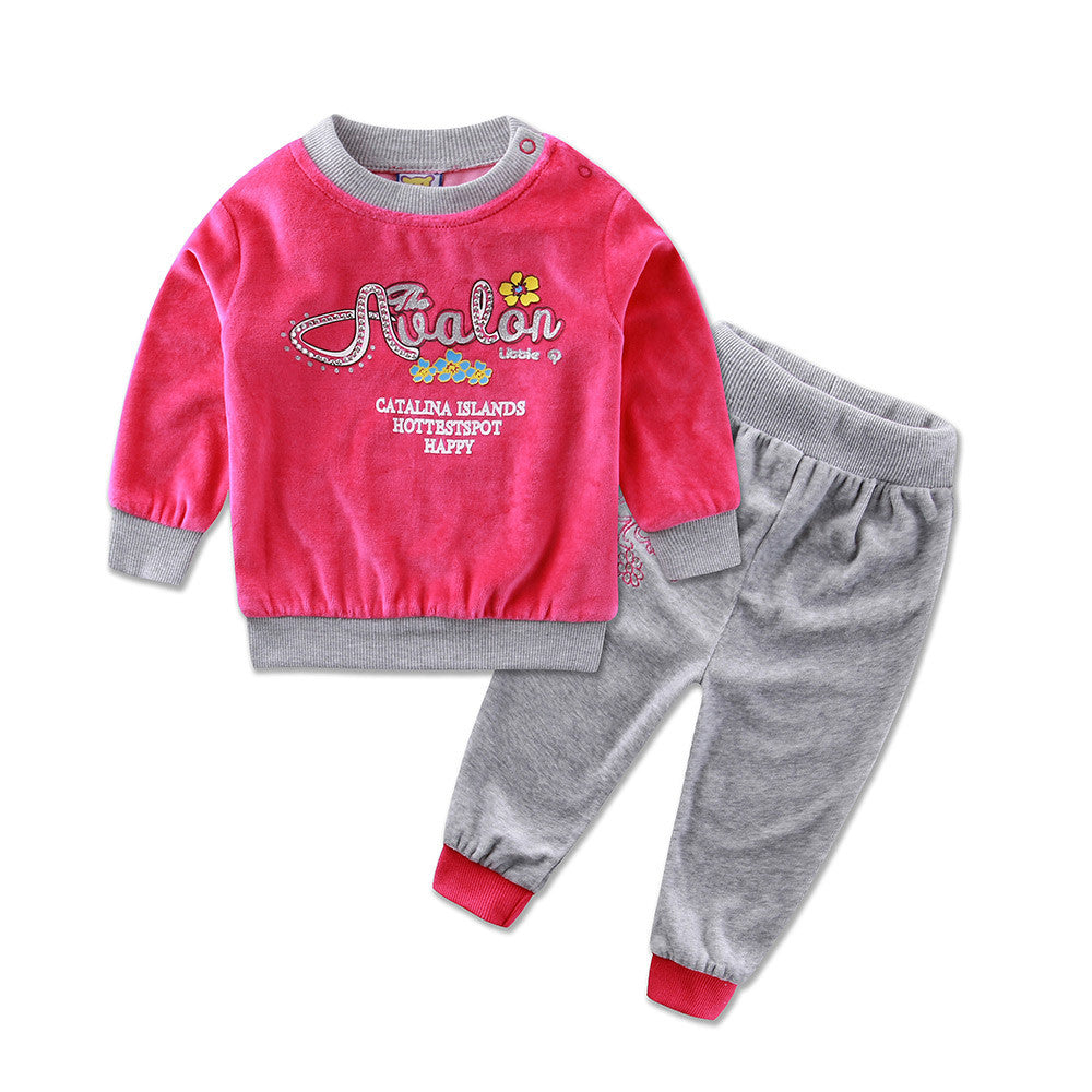 2016 Little Q Spring Long Sleeve Embroidery Velour Pullover Blouse Pants Clothing Set fashion girls baby clothes outfits