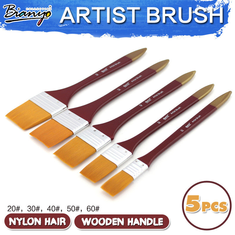 Bianyo 5Pcs Paint Brushes Acrylic DIY Graffiti Brush Set For Artist Oil Scrubbing Brush School Drawing Paint Stationery Supplies