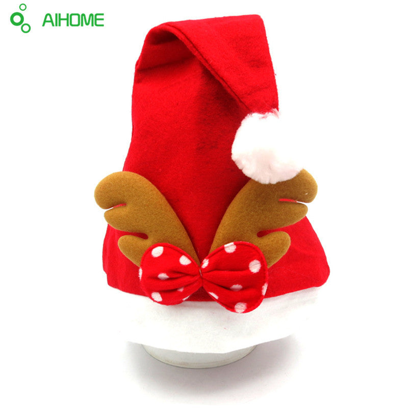 21deea3726c0f 1 Piece Adult Child Christmas Reindeer Hat Caps Cute Xmas Santa Claus