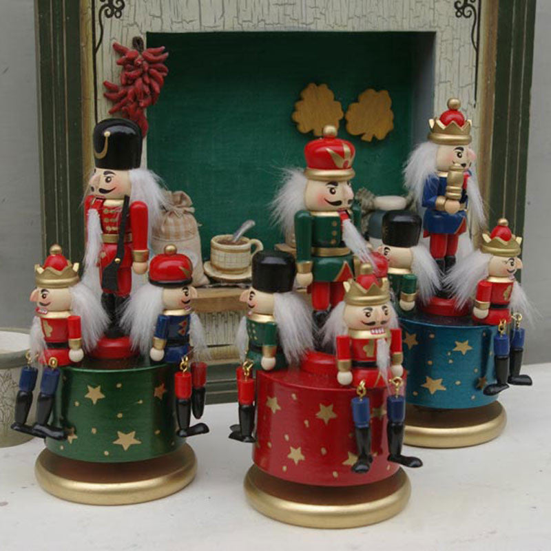 1psc 20CM Christmas Nutcracker For Gifts Gift  Wooden Nutcracker Soldiers With Music Box Xmas Decoration
