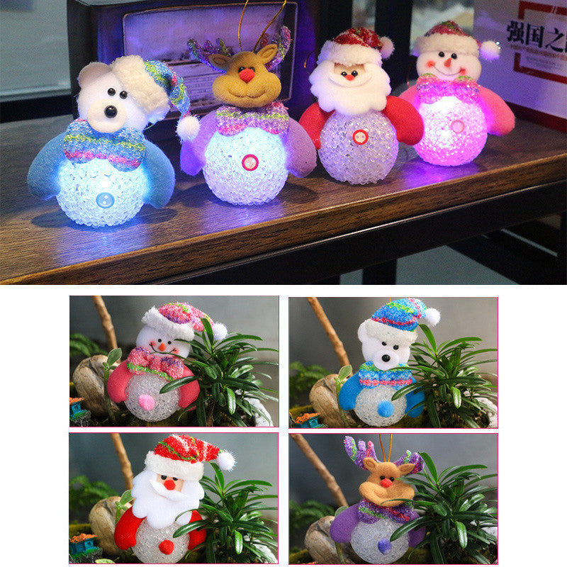 1 pcs Colorful Crystal Snowman Led Night Light light-emitting crystal grain snowman Christmas decorations Christmas gifts