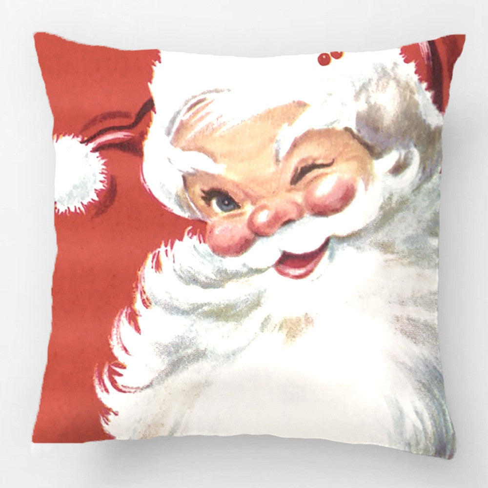 Vintage Christmas, Jolly Winking Santa Claus Throw Pillow Case Decorative Cushion Cover Pillowcase Customize Gift For Sofa Seat