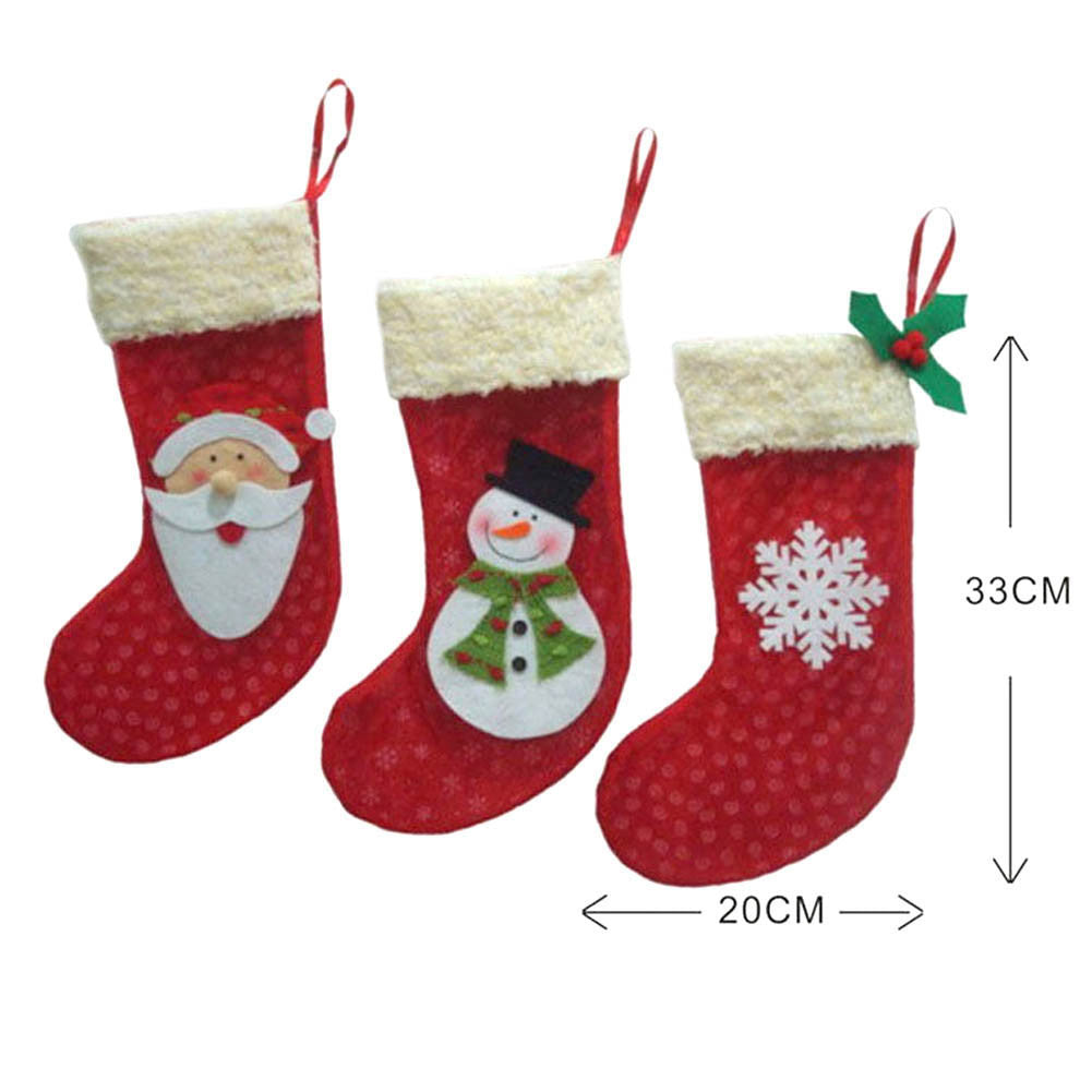 3Pcs/ Lot Christmas Stockings Socks Santa Claus Candy Gift Bag Xmas Tree Decor Christmas Decorations Festival Party Ornament