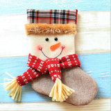 Christmas Stocking Small plaid Santa Claus sock gift bag kids Christmas decoration candy bag Christmas tree ornaments supplies