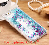 Glitter Stars Dynamic Liquid Quicksand Hard Case Cover For iPhone 4 4s 5 5s 6 back cover Transparent Clear Phone Case Free ship