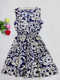 F&H Brand Blue stars 20 Colors Fashion Women New Sleeveless Florals Print Round Neck Dress 2016 Saias Femininas Summer Clothing