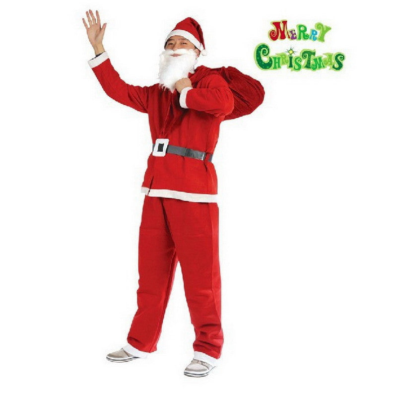 2016 newest Christmas costume Men's Christmas Santa Claus Costume Suit 5 Pieces Red One Size