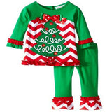 Hengli Trade Christmas Suit Santa Suit 2pcs T-shirt + Pants Fashion Children Girl Christmas Pajamas Set Kids Long Sleeve