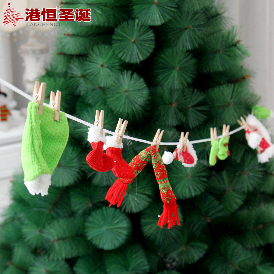 Christmas Tree Ornaments 200cm Non-woven Fabrics Christmas Hat Santa Suit Christmas Stocking String 80g XmasC014
