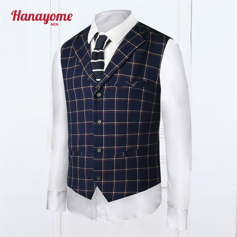 Men's Dark Blue Mens Vest Double Breasted Pinstripe Suit Male Green Color Wedding Suits For Men 1pc Sleeveless Jackets Vest SI03