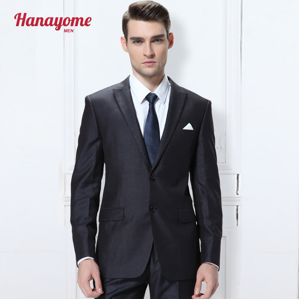 Tuxedo Tailcoat Men's Two Pieces 2 Buttons Men Black Tuxedo Suits Jacket Trousers Coat Pants Mens 3 piece suits Slim Fit D354