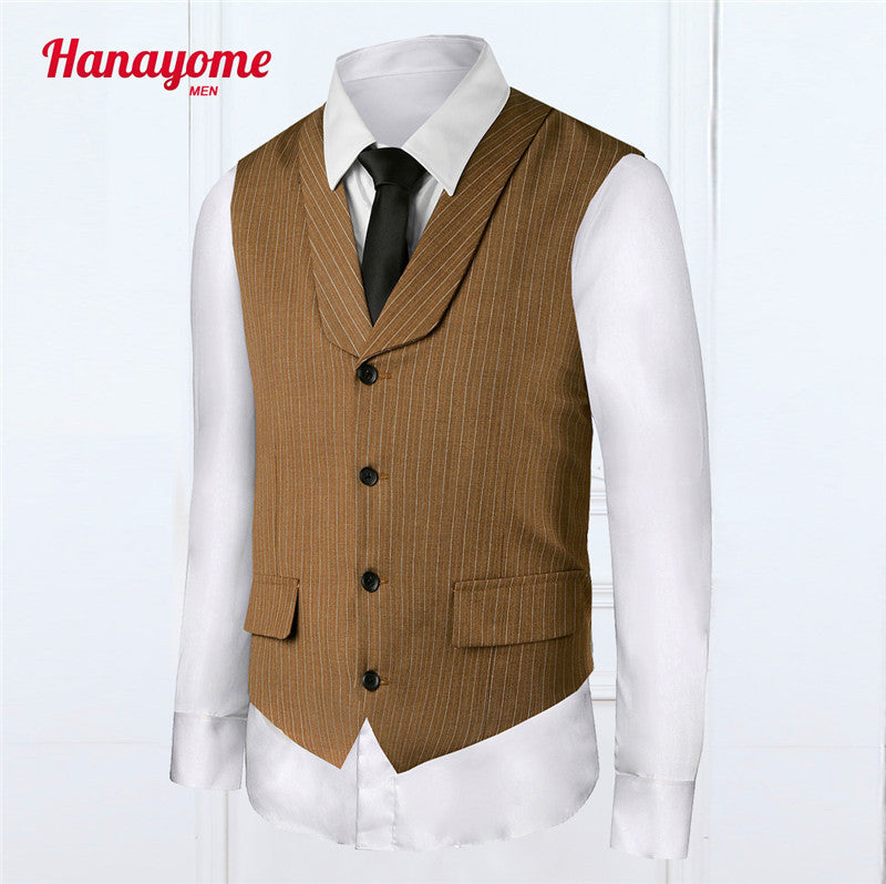 Business Striped Suit Fashion Men's Vests New Brand Slim Fit Formal Waistcoat Colete Sleeveless Formal Outwear Wedding