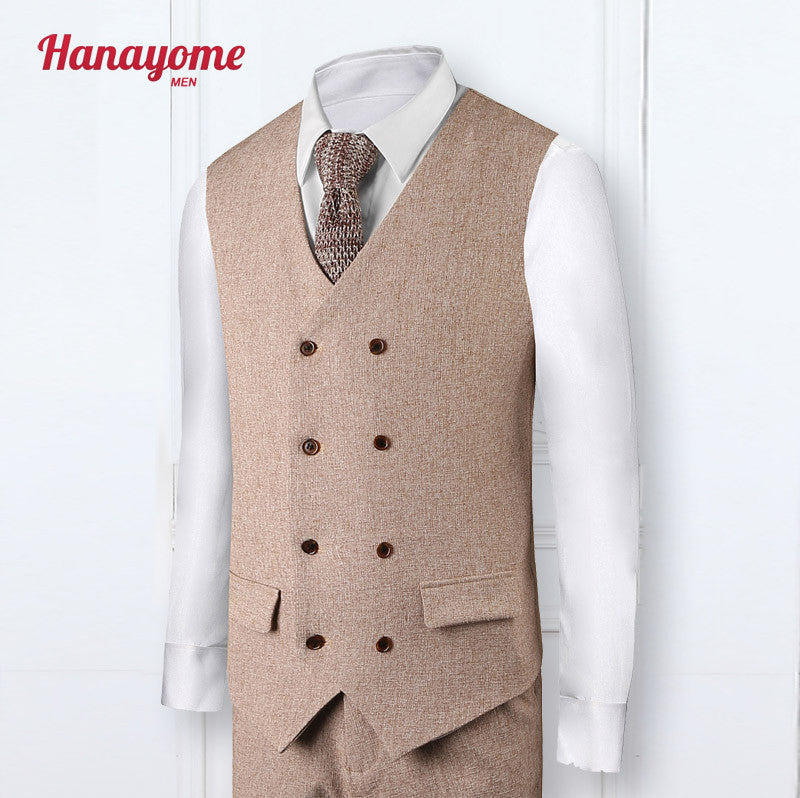 New Arrival Brown Suits Wedding Suit For Men Double Breasted Tuxedos Male Groom Suits Peaked Lapel Mens Suits New Groomsmen SI15
