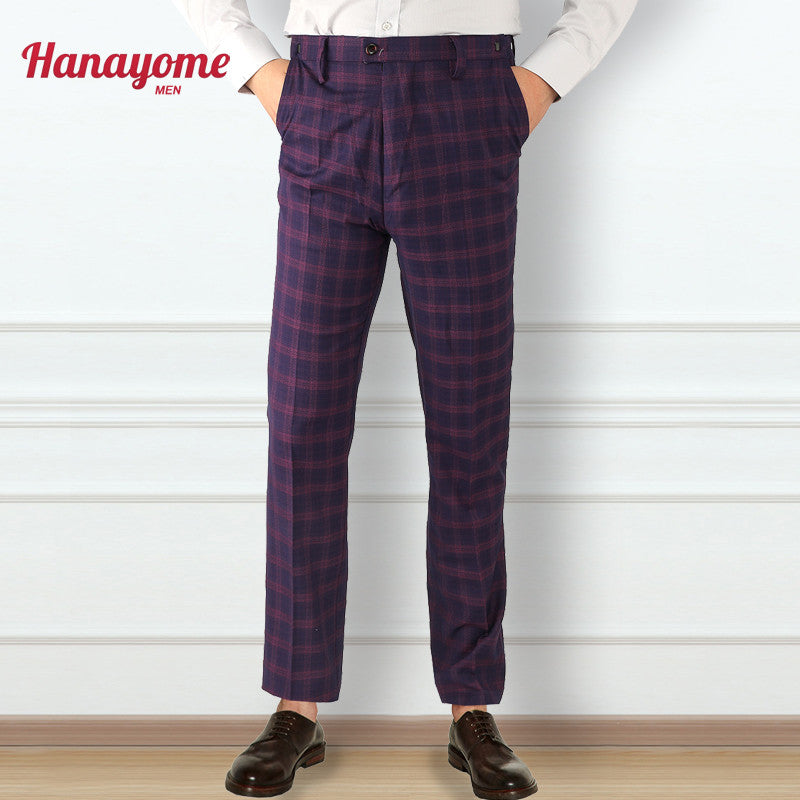 Brand Pant 100% Cotton Quality Purple Long Pants For Male Plaid Suits Men's Slim Fit Mens Plaid Suits Pant Purple Blazer SI13