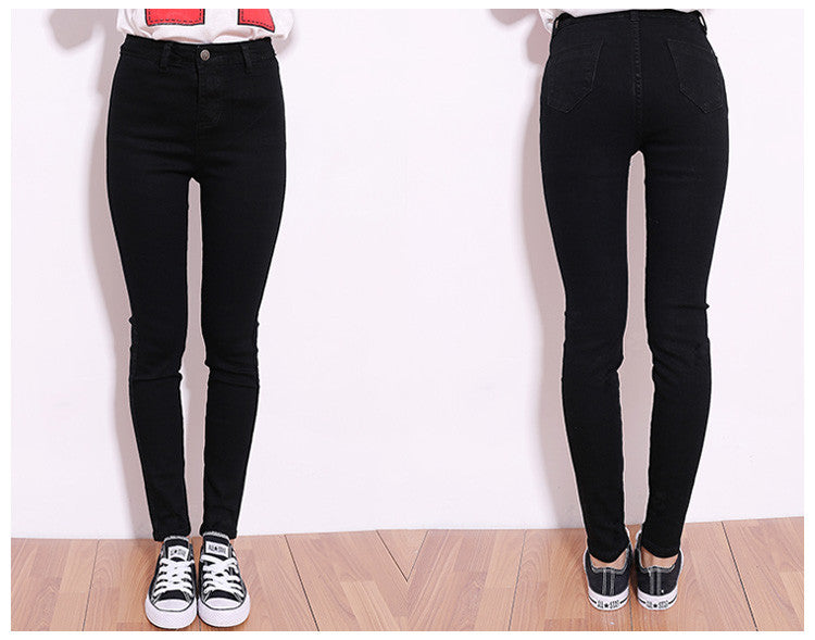 2015 New high Elastic Slim Denim Pencil Jeans Long Women Jeans 7 Sizes Pencil Pants Trousers Skinny high waist jeans Woman