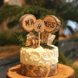 3Pcs Mr & Mrs Cake Toppers Rustic Wedding Wood Decorations Mariage Table Wedding Decoration Event Party Supplies topo de bolo