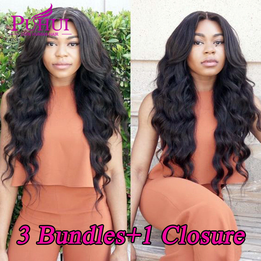 Brazilian virgin hair with closure 3 bundles with closure Brazilian body wave with closure Cheap lace closures with bundles