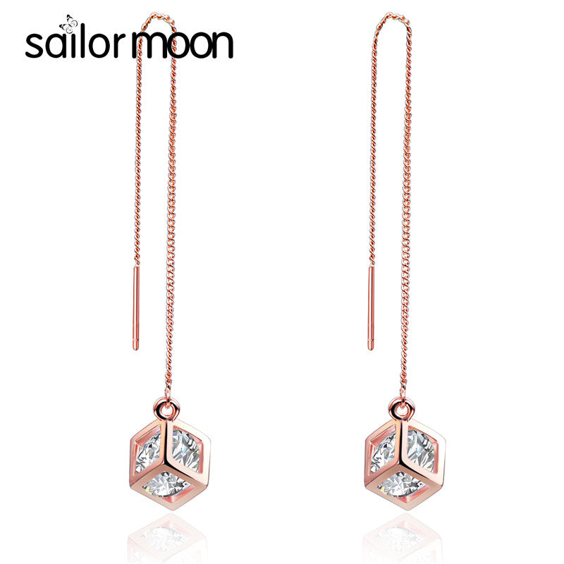 korean style Fine plated rose gold earring women fashion jewelry cubic zirconia Hanging earring female long earring Party aros