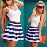Women Dress Summer Fashion Vestidos de festa New Striped Patchwork Sleeveless Tank & Vest Dresses Casual O-Neck Plus Size  JY004