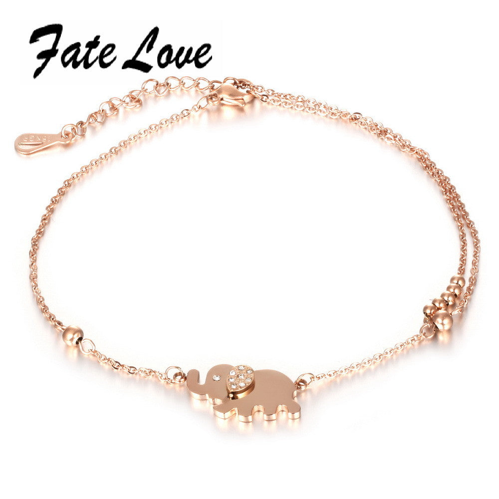 Romantic Barefoot Sandal Elephant Charm Anklet Bracelet Rose Gold Plated Crystal Stone  Foot Ankle Chain Jewelry  FL022