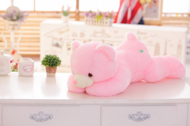 45cm Colorful Glowing Soft Stuffed Plush Toy Bear Pillow Flashing LED Light Luminous Bear Doll Toys Baby Birthday Gift for Kids