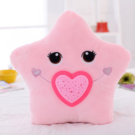 Cartoon colorful LED light projection pillow LED lights Pillow Light Projector Plush Toy Night Light Stars Toys Girls gift