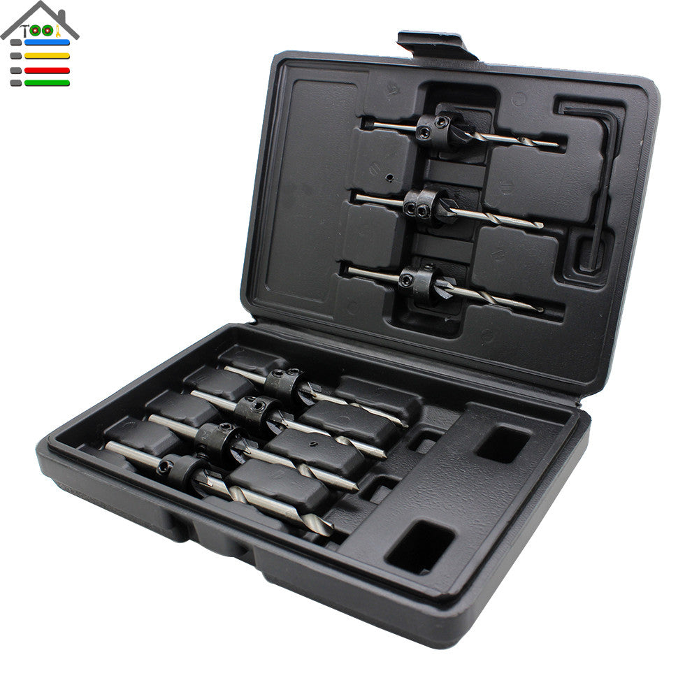 Free Shipping New 22pc/Set Countersink Drill Bits With Adjustable Depth Stop Collar Wood Woodworking Drilling Hole Saw With Case