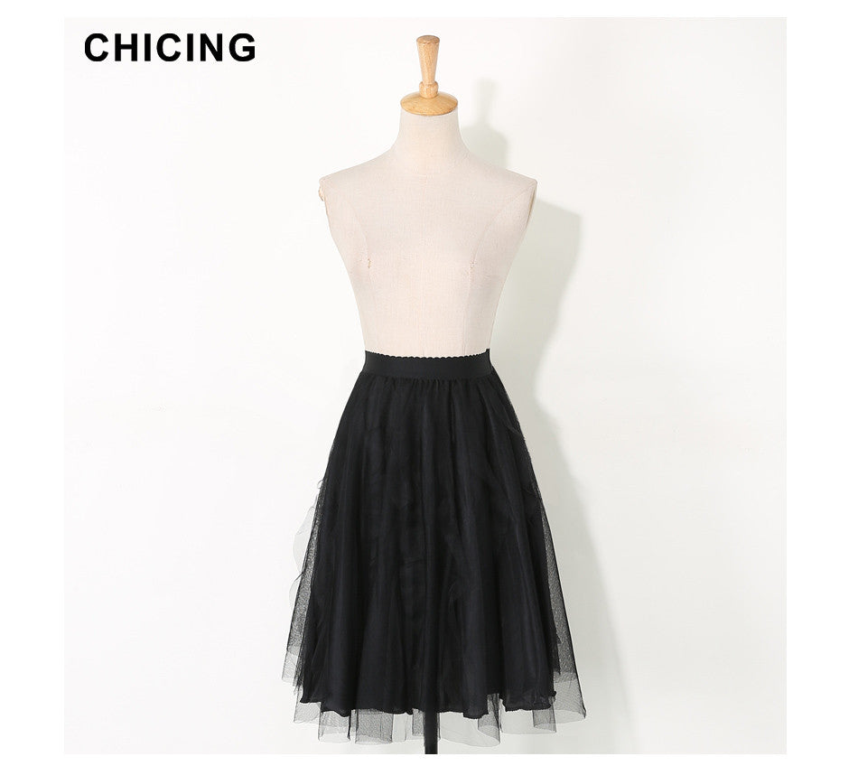CHICING 2016 Women Mesh Metallic Tutu Lace Midi Skirt Party High Waist Pleated Irregular Stringy Selvedge Saia Fenimias A1608027