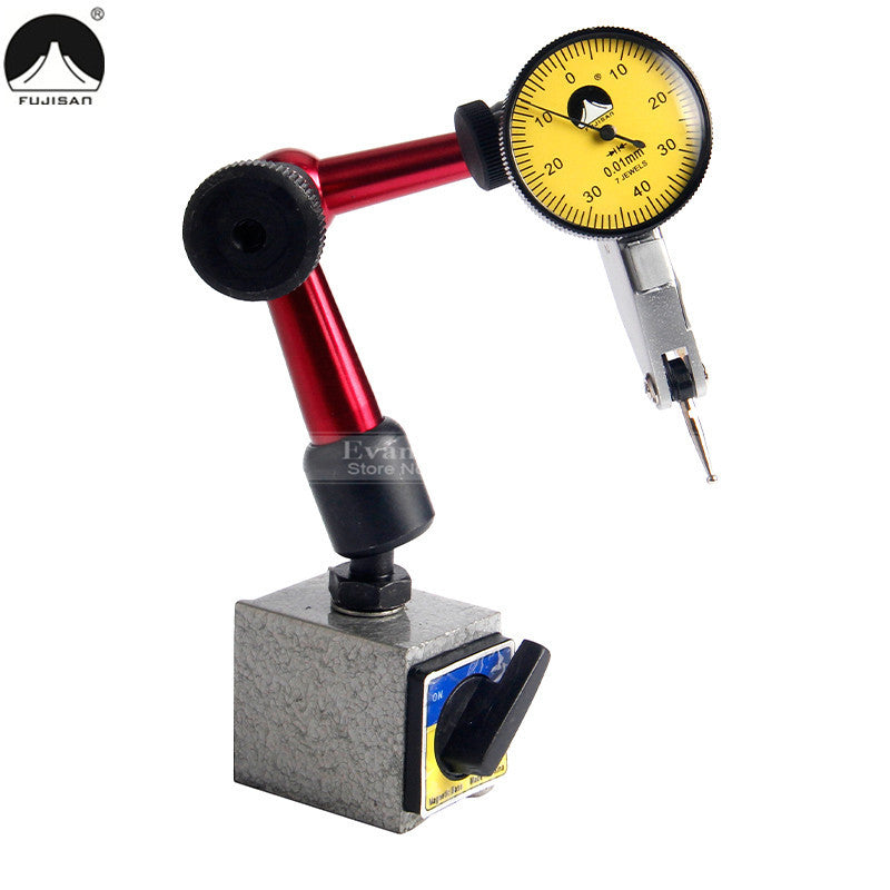 2 IN 1 Dial Indicator 0-0.8mm/0.01mm Shockproof 7 Jewels With Mini Universal Flexible Magnetic Base Dial Test Indicator