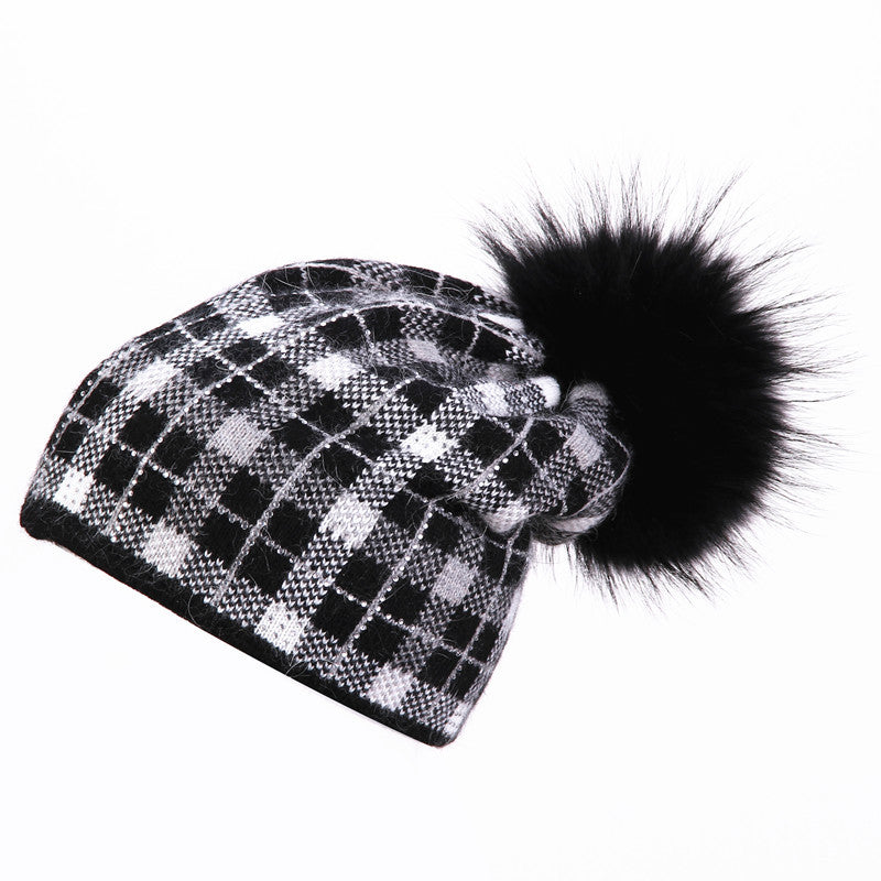 2016 women winter real mink knitted hat pom poms wool rabbit fur hat for women girls beanies Skullies hat