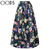 OOPS 2016 New Style High Waist Pleated Maxi Skirt Winter Autumn Fashion Vintage Flower Printed Long Skirts Women Saias A1609007