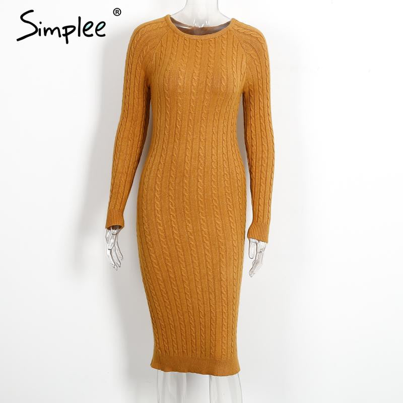 Simplee Elegant split knitted bodycon dress women Black long sleeve sexy party dresses Autumn winter warm midi dresses vestidos