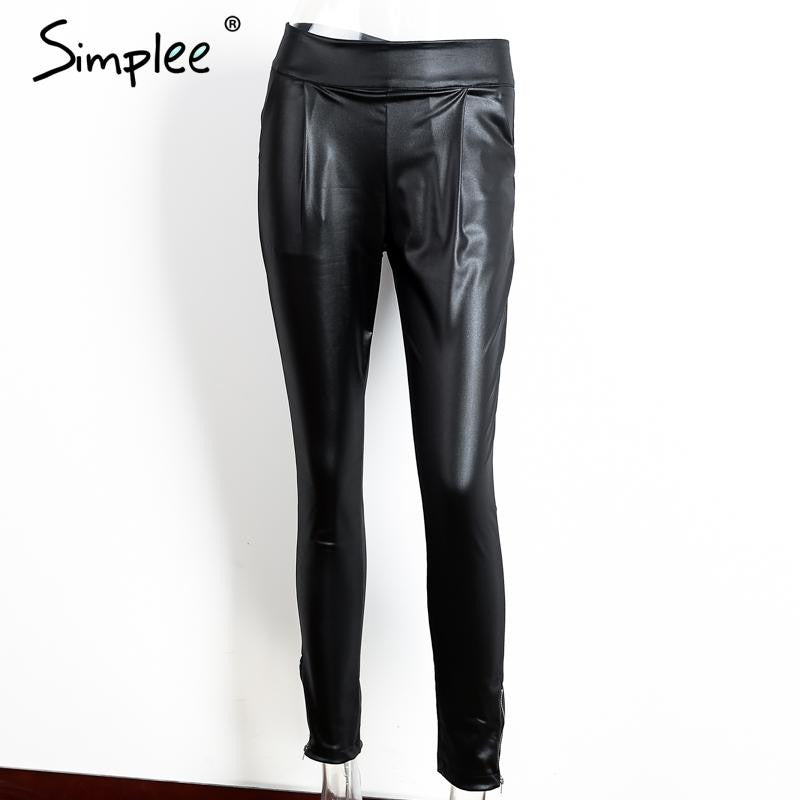 Simplee Autumn black thin pencil pants capris Fashion streetwear casual pants leggings High waist pocket zipper pants trousers