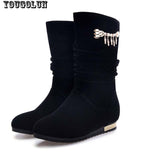 YOUGOLUN Women Winter Boots Sexy Ladies Metal Chains Decoration Boots Fashion Woman Wedges Black Winter Round toe Warm Snow Shoe