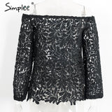 Simplee Hollow out white lace blouse shirt women tops Casual off shoulder feminine blouse 2016 autumn long sleeve cool blouse
