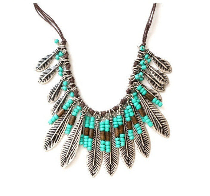 Hot Selling fashion Leaf bib silver maxi tassle rope chain multi layer necklace vintage Gypsy necklace & pendant women jewelry