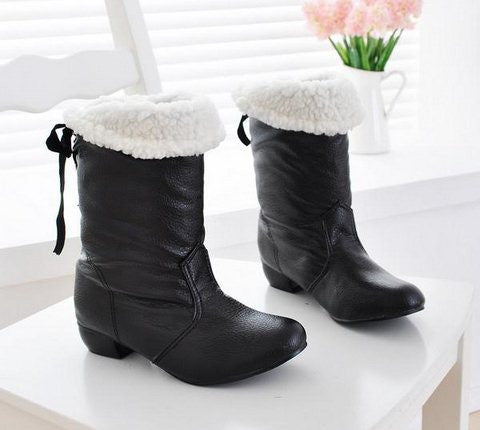 BONJOMARISA Sale Big Size 34-47 Snow Boots Women Warm Winter Fur Shoes Black Red Fashion Half Knee Boots Woman Winter Shoe XB663