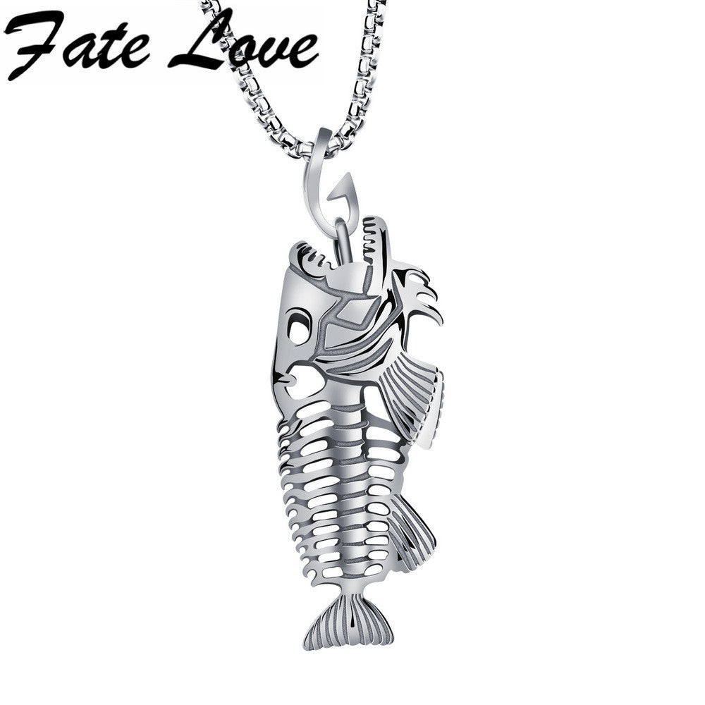 "Hollow White Black Golden Jewelry Unique Fish Bone Pendant 22""Necklace  316L Stainless Steel Punk Personality Pendant FL1073"