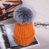 New fashion 2016 Autumn Winter Women Cap Fox Fur Ball Hat Pom Poms 12CM Cap Female Warm Beanies Crochet Knit Beanie Hats Caps