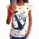 2015 Fashion Women's Summer T shirt Letter Print Anchor Slim Cotton Casual  Tops T Shirts