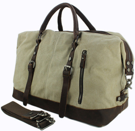 Vintage military Canvas Leather men travel bags Carry on Luggage bags Men  Duffel bags travel tote 7fbe65861785f