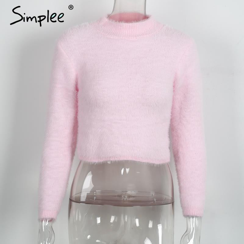 Simplee Warm hairy turtleneck knitted sweater Women autumn winter plush black sweater short top Basic long sleeve white crop top