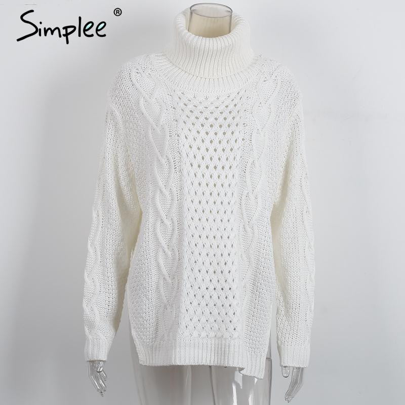 Simplee Split turtleneck twist knitted sweater Women casual loose white jumpers pull femme Autumn winter long sleeve pullover