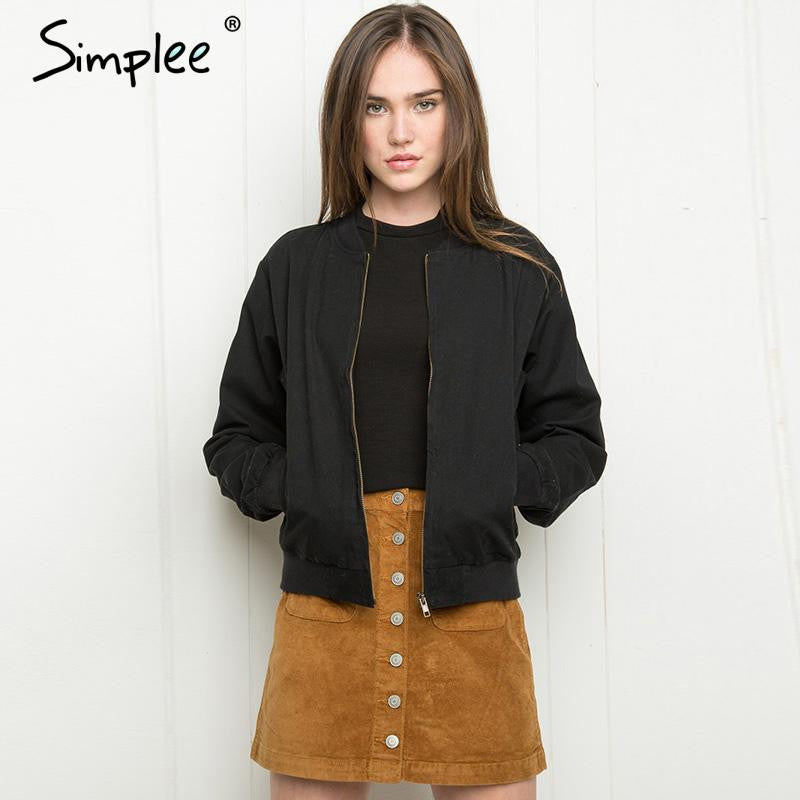 Simplee Apparel Autumn tops 2016 army green women jacket coat Girl short basic jackets outwear Cool thin bomber jacket
