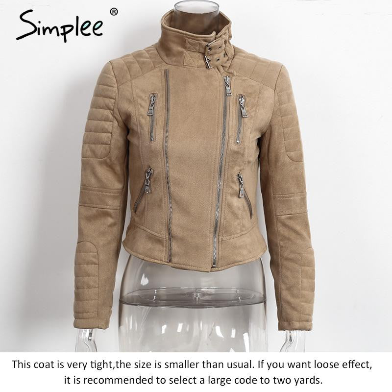 df7177f2714 Simplee Faux leather suede outerwear & coats Short slim basic jackets