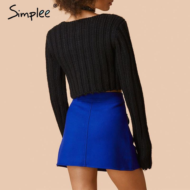 Simplee Sexy knitted winter sweater women Autumn white pullover jumper sweater Elegant black long sleeve party sweater crop top