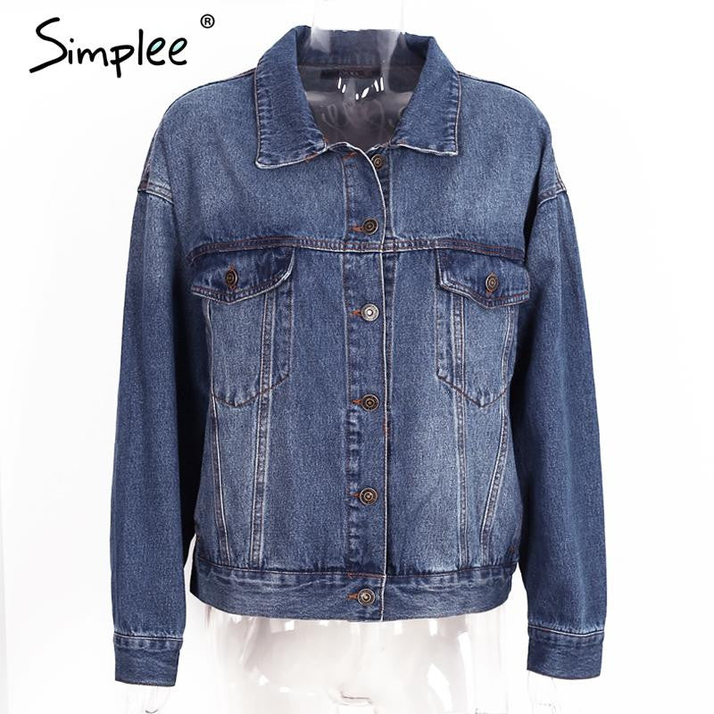 Simplee Autumn embroidery letter denim jacket Vintage oversized short basic jacket Winter casual button streetwear jacket coat