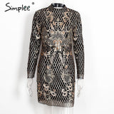 Simplee Sexy backless gold sequin dress Women elegant floral plaid bodycon dress Autumn winter party short vintage dress vestido