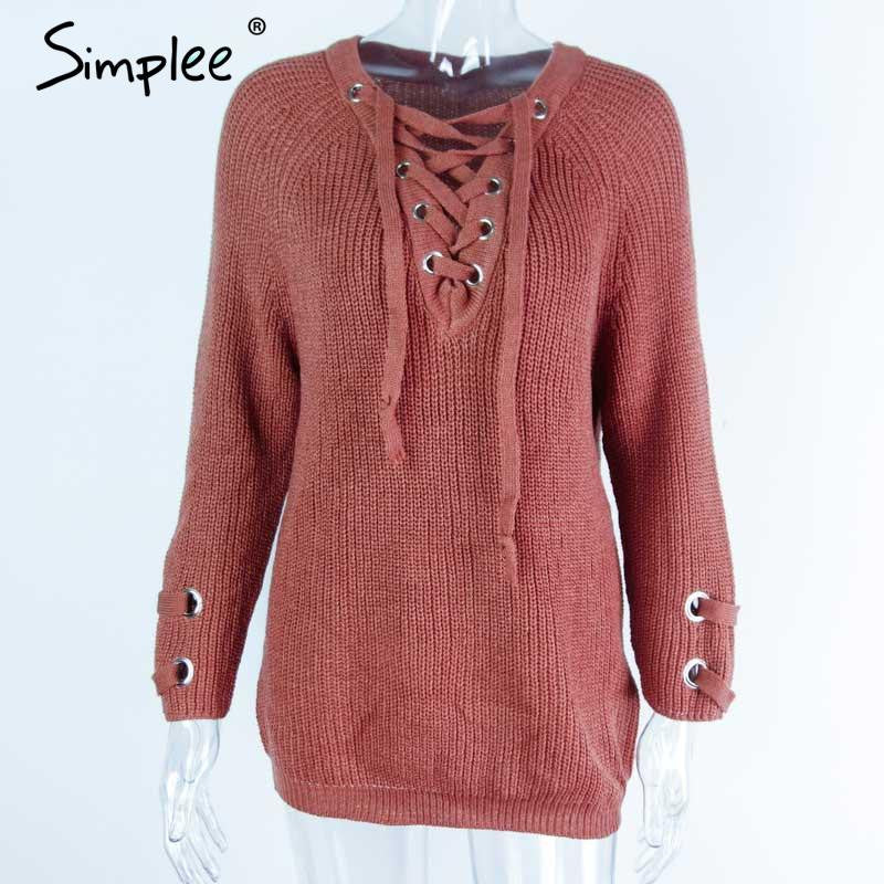 Simplee Lace up knitted winter sweater women Loose white pullover Elastic waist knitwear casual winter outwear 2016 streetwear