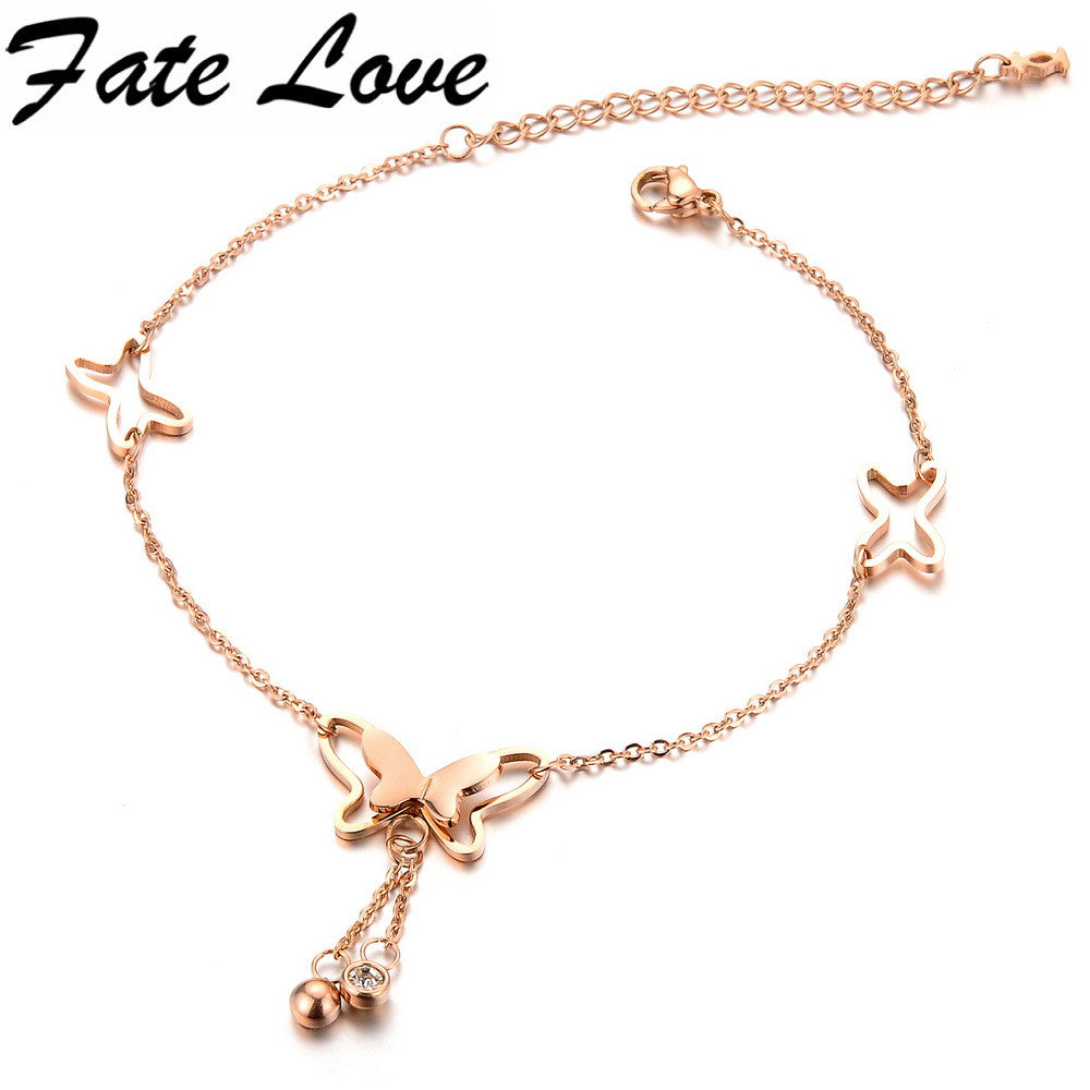 Romantic Korean Fashion Charm Rose Gold Plated Butterfly Anklets Jewelry Crystals  Top Quality  jewerly gift 002